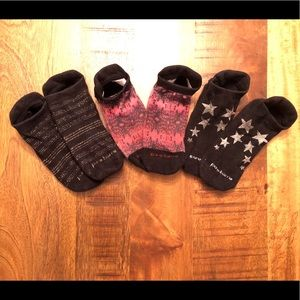 Set of three Pure Barre socks. GUC. Small